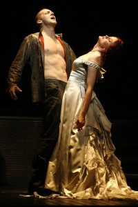 Steve Blanchard as the Creature and Christiane Noll as Elizabeth in the 2007 World Premiere Production in New York City.
