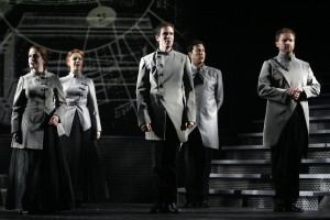 (L to R:) Leslie Henstock, Casey Erin Clark, Nick Cartell, Aaron Serotsky, Patrick Mellen in the 2007 World Premiere Production in New York City.